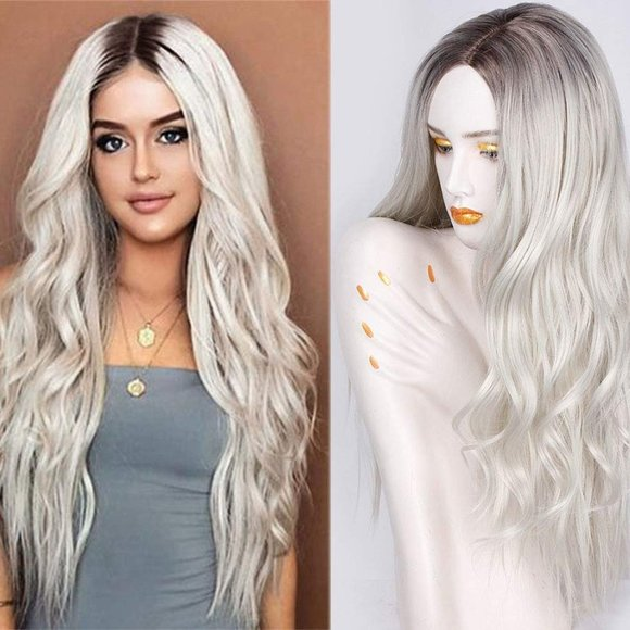 Long Wavy Synthetic Wigs Ombre Platinum Wig Middle